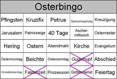 Mit Senioren Bingo zum christlichen Osterfest spielen