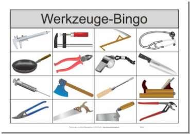 übersichtlicher Spielschein / Bingoschein des 16-Felder-Bingo-Spiels für Senioren