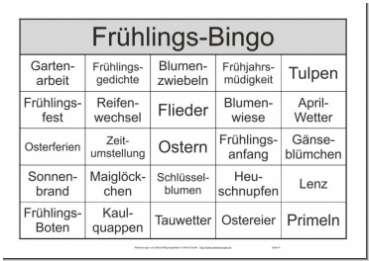 25 Begriffe Themenbingo Frühling