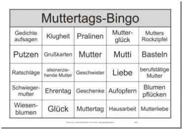 Themenbingo-Spiel Senioren zum Muttertag mit 25 Begriffen pro Spielschein