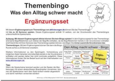 Das Ergänzungs-Set zum Themen-Bingo was den Alltag schwer macht beinhaltet 10 weitere Spielscheine bzw. Bingokarten