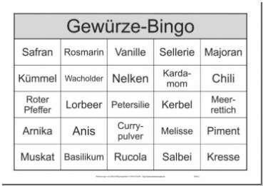 Themenbingo-Spiel Gewürze mit Bingo-Begriffen die Gewürze benennen
