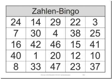 Das bekannte Spiel Bingo mit Zahlen und Bingoscheinen von 1 bis 48