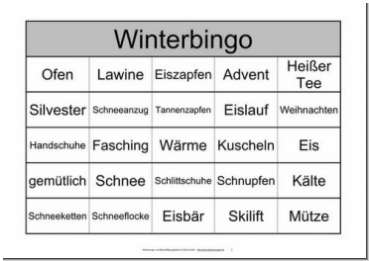 Themenbingo Winter