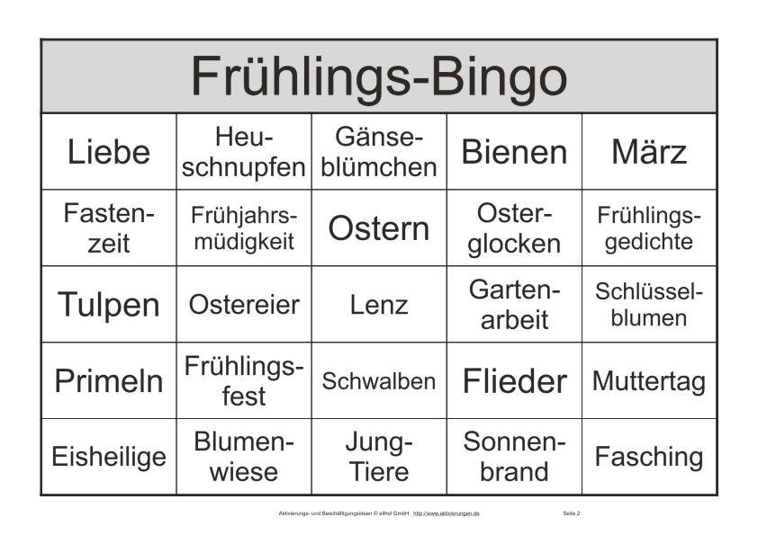 Bingo Spiel Für Senioren Als Pdf Mit Begriffen Zum Thema