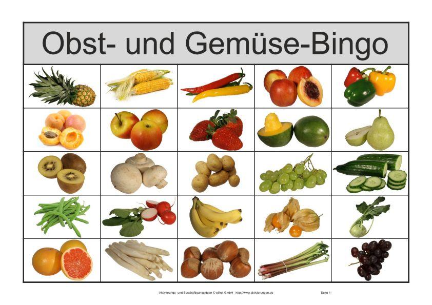10 weitere Bingoscheine für das Senioren Bilder-Bingo Obst und Gemüse