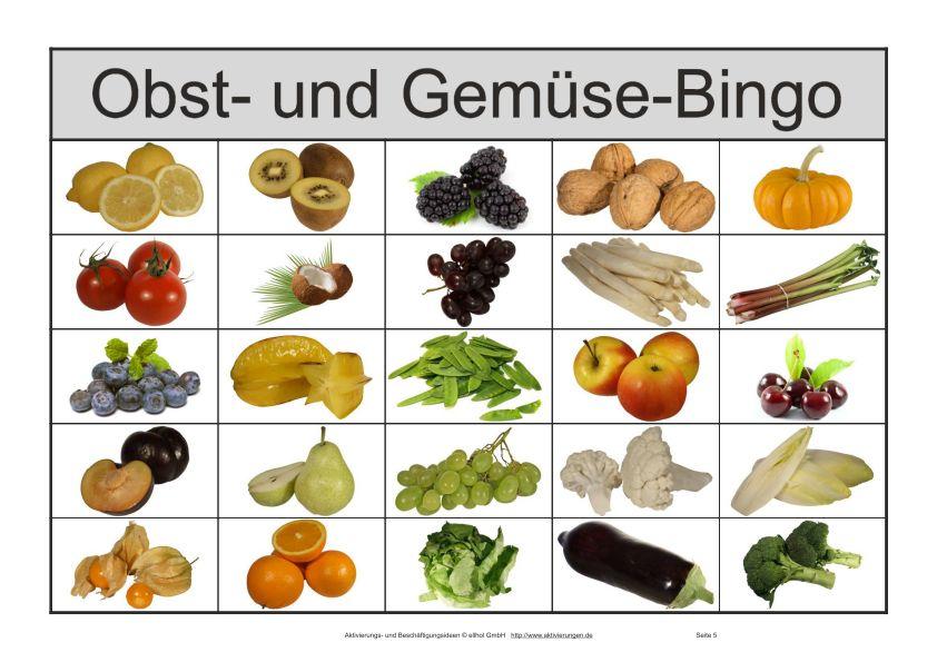 Bilder Bingo Spiel Fur Senioren Mit Bildern Von Obst Und Gemuse