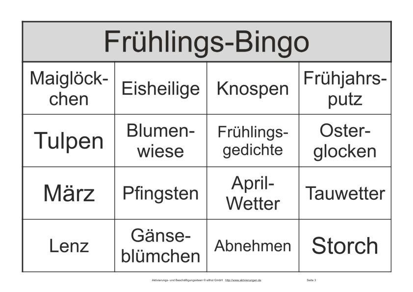 Seniorenbingo Mit 30 Begriffen Zum Thema Frühling Anstatt