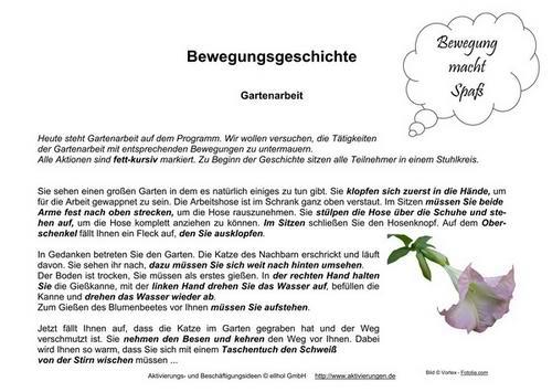 Seniorengymnastik Mit Der Bewegungsgeschichte über Gartenarbeiten