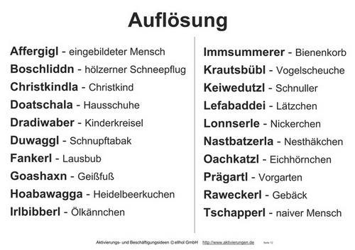 Bayerische Wörter