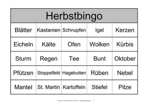 Ein Bingo-Spiel Mit 48 Begriffen Zum Herbst Statt Zahlen