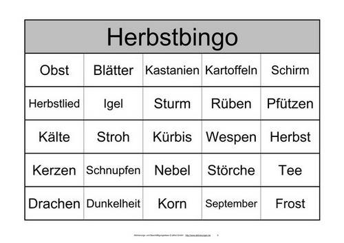 Ein Bingo Spiel Mit 48 Begriffen Zum Herbst Statt Zahlen Für
