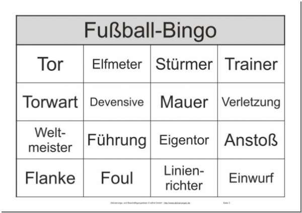 Das Ergänzungsset Zum Bingo-Spiel Fußball Für Senioren Mit