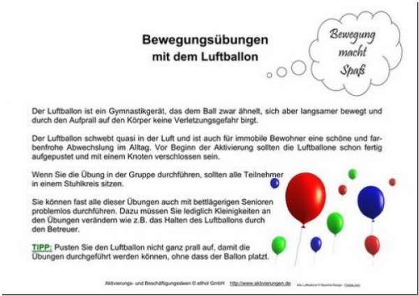 Gymnastik Bewegungsübungen Mit Dem Luftballon Machen Senioren Spaß