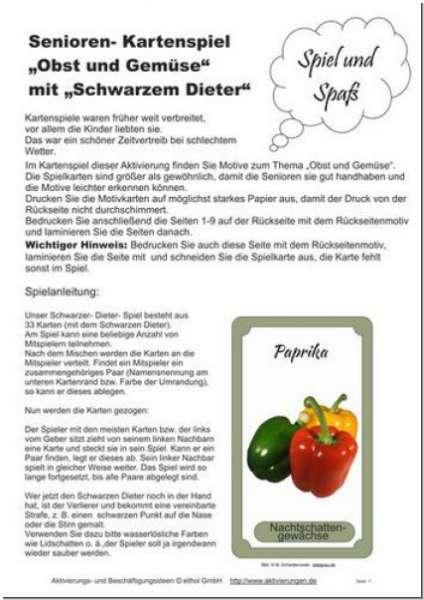 Spiel für Senioren Schwarzer Dieter Obst speziell für Senioren Demenz
